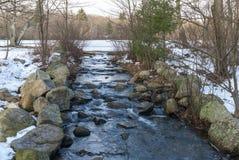 Eau froide coulant de l'étang congelé au parc d'état de région limitrophe photo libre de droits
