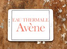 Eau thermale avene cosmetics brand logo. Logo of eau thermale avene cosmetics brand on samsung tablet Stock Image