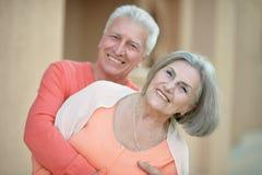 Eautiful elderly couple outdoor Royalty Free Stock Photos