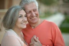 Eautiful elderly couple outdoor Stock Image