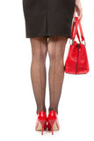 Eautiful female long legs on high heels over white Royalty Free Stock Images