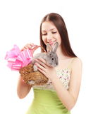 Eautiful girl with rabbit Stock Photos