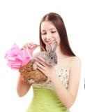 Eautiful girl with rabbit Stock Photos