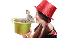 Eautiful girl with rabbit Royalty Free Stock Images