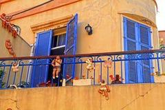 Eautiful hus med roliga diagram Beit Tamar, Tel Aviv, Israel Arkivbild