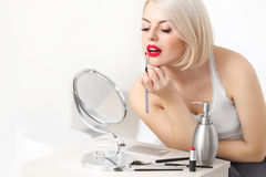 Eautiful Woman Doing Daily Makeup Stock Photography