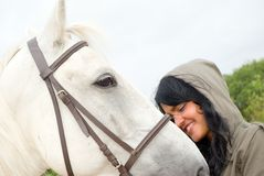 Eautiful woman with a horse Royalty Free Stock Photos