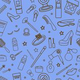 Eauty Cosmetic line seamless pattern royalty free illustration