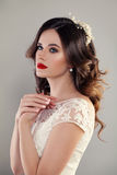 Eauty Portrait of Bride with Curly Hair, Perfect Makeup Royalty Free Stock Photo