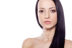 Eauty woman portrait with pearl necklace Royalty Free Stock Image