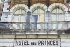Facade of an abandoned hotel in France