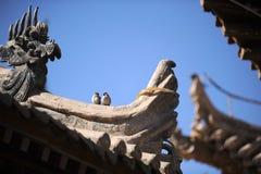 Eave av den kinesiska forntida byggnaden Fotografering för Bildbyråer
