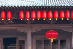 Eave and red lanterns Stock Photography