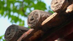 Eave tradizionale del tetto di un tempio cinese stock footage