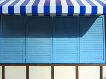 Eaves. In blue and white pattern, with blue background Stock Images