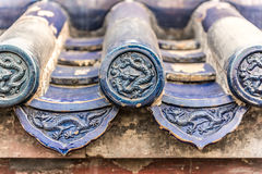 The eaves tile of an ancient royal chinese building Stock Image