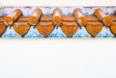 Eaves on a white wall of Chinese temple Stock Image