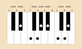 Eb belangrijke schaal en vingertechniek voor piano Stock Foto