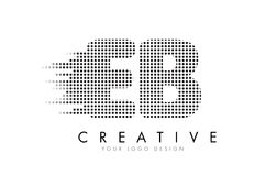 EB E B Letter Logo with Black Dots and Trails. Stock Images