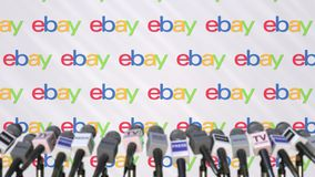 EBAY company press conference, press wall with logo and mics, conceptual editorial 3D rendering. Company press conference, conceptual editorial 3D vector illustration