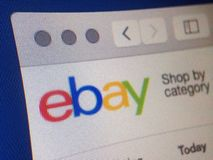 EBay. A computer screen shows the eBay homepage Stock Photo