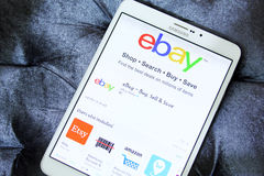 Ebay app. Downloading ebay application from google play store on samsung tab s2 Royalty Free Stock Photo