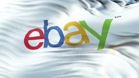 Ebay flag waving on sun. Seamless loop with highly detailed fabric texture stock illustration