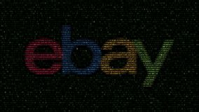 EBay Inc. logo made of flashing hexadecimal symbols on computer screen. Editorial 3D rendering