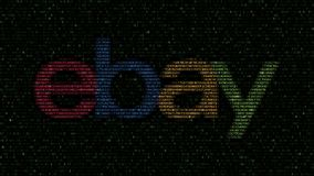 EBay Inc. logo made of hexadecimal symbols on computer screen. Editorial 3D rendering. EBay Inc. logo made of hexadecimal symbols on computer screen. Editorial vector illustration