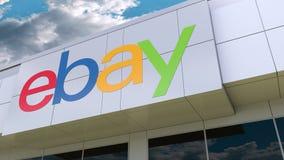 EBay Inc. logo on the modern building facade. Editorial 3D rendering. EBay Inc. logo on the modern building facade. Editorial 3D stock video footage