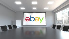 EBay Inc. logo on the screen in a meeting room. Editorial 3D animation. EBay Inc. logo on the screen in a meeting room. Editorial 3D stock footage