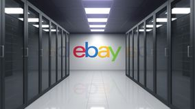 EBay Inc. logo on the wall of the server room. Editorial 3D animation. EBay Inc. logo on the wall of the server room. Editorial 3D stock video