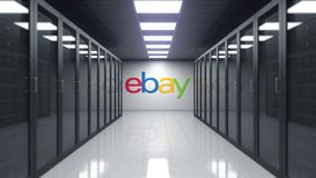 EBay Inc. logo on the wall of the server room. Editorial 3D rendering. EBay Inc. logo on the wall of the server room. Editorial 3D vector illustration