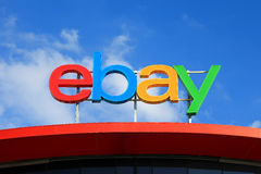 Ebay logo. Ebay is an American multinational corporation and e-commerce company, providing consumer-to-consumer and business-to-consumer sales services via the Stock Photo