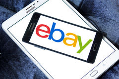 Ebay logo. Ebay application logo and vector on samsung mobile phone a5 on samsung tab s2 Stock Photo