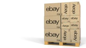 EBay logo on cartons on pallet. Editorial 3D rendering. Boxes with logo on pallet. Editorial 3D vector illustration