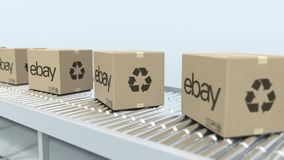 EBAY logo on moving boxes on roller conveyor. Editorial 3D rendering. Many cartons with logo on roller conveyor. Editorial 3D vector illustration