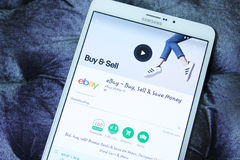 Ebay mobile android app. Downloading ebay application from google play store on samsung tab s2 Stock Photos