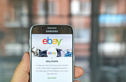 Ebay mobile app. MONTREAL, CANADA - August 8, 2016 - Ebay mobile app on S7. Ebay is an American multinational corporation and e-commerce company, providing Stock Photography
