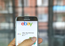 Ebay mobile app. MONTREAL, CANADA - August 8, 2016 - Ebay mobile app on S7. Ebay is an American multinational corporation and e-commerce company, providing Royalty Free Stock Image