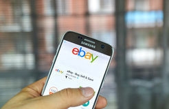 Ebay mobile app. MONTREAL, CANADA - August 8, 2016 - Ebay mobile app on S7. Ebay is an American multinational corporation and e-commerce company, providing Royalty Free Stock Photos