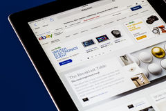 Ebay. NEW YORK CITY - FEB 3, 2014: iPad opened to Ebay homepage.  Ebay, an online auction and shopping site, was founded in 1995 Royalty Free Stock Photo