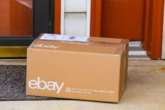 EBay Package at Front Door. Lancaster, PA, USA - December 4, 2017: An ebay package delivered at a front residential door Stock Photo