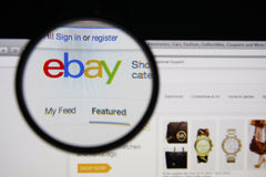Ebay. Photo of Ebay homepage on a monitor screen through a magnifying glass Stock Photography