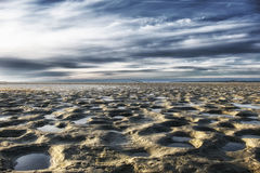 Ebb in baltic sea. low water and sand beach Stock Image