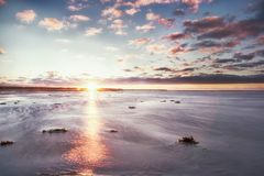 Ebb in baltic sea. Low water and sand beach Royalty Free Stock Photos