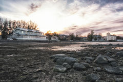 Ebb in baltic sea. low water and town Stock Photos