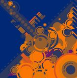 Ebb flow blue and orange. A modern blue circular design for use a as background or desktop vector illustration