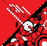 Ebb flow red. A circular design with a modern twist for use as a background stock illustration