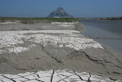 Ebb at Mont Saint Michel. The exposed bottom at the dam's Mont Saint Michel Stock Photos